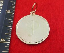 """14 KT GOLD EP LARGE(OVER 1"""") ROUND INITIAL DISC LETTER P PENDANT CHARM"""