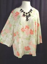 ROSE & OLIVE Silky Ivory Green Peach Floral Top 3x With Statement Necklace NWT
