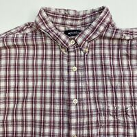 Puritan Button Up Shirt Men's 2XL XXL Short Sleeve Multi Plaid Casual Cotton
