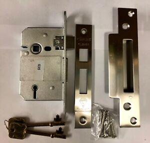 "British Standard 5 Lever Mortice Sashlock 2.5"" (64mm) Stainless Steel Finish"