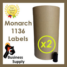 Labels for Monarch 1136 two line price gun- Tan - 2 sleeves,ink roller included