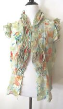 Lapis Greens Color Floral Print Ruffle  Sleeveless Top Blouse Size L