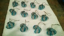 12 HANDMADE CHRISTMAS ORNAMENTS MADE WITH BLING TEAL AND SILVER