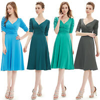 Alisa Pan Womens 3/4 Sleeves Casual Dress Knee Length Cocktail Party Dress 03632