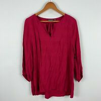 Sussan Womens Tunic Top 12 Fuchsia Pink Long Sleeve V-Neck Tie Closure