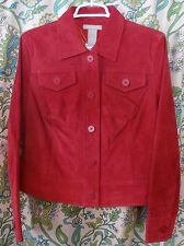 Field Gear Suede Leather Jacket Blazer Bright Red Size Medium NWT Fall New