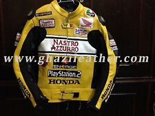 NASTRO HONDA AZZURRO MEN MOTORBIKE LEATHER RACING JACKET YELLOW & BLACK ALL SIZE