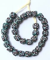 Handmade Ghana Teal Green recycled glass Short strand African Trade beads