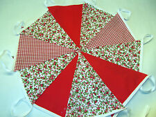 60ft 18m REd FLORAL BUNTING WEDDINGS vintage shabby chic handmade.3 x 20 Red
