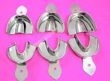 DENTAL STAINLESS STEEL NON-PERFORATED IMPRESSION TRAYS AUTOCLAVABLE SET OF 6