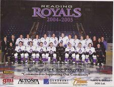 Reading PA Reading Royals ECHL Ice Hockey Team Photo 2004-2005 (8 1/2 x 11) !