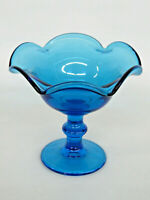 Blue Glass Ruffled Rim Pedestal Compote Candy Dish 756B