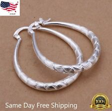 Women's 925 Sterling Silver Oval Etched Hoop Pierced 1-1.5 Inch Earrings
