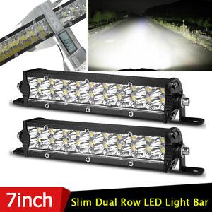 2X 7in 60W Dual Row LED Work Light Bar Combo Spot Flood Driving Off Road SUV ATV