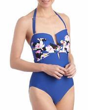 Ellen Tracy® 10 Blue Bloomin' Twist Plunge Bandeau Swimsuit Nwt $127