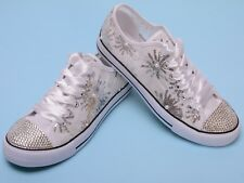 Summer Wedding sneakers for bride Sequin Mesh Rhinestone Bridal trainers bling