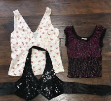 3 Tops Forever 21 White Tank Pink Blouse Black Sequin Halter Women's XS (I)