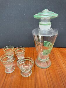 Atomic Glass Decanter Bottle & 4 Glasses Vintage Retro Home Genie Bottle Style