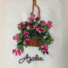 "Vintage Crewel Needlepoint Hanging Pink Azalea 7.5""x9.5"" Unframed"