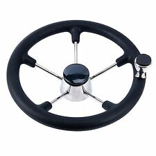 13-1/2 Inch 5 Spoke Destroyer Boat Steering Wheel with Black Foam Grip and Knob
