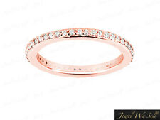 0.45Ct Round Diamond Wedding Eternity Band Ring Solid 14k Rose Gold H SI2 Prong