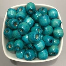 25X Turquoise Blue Wooden Drum Beads 6mm Hole Macrame Craft Dreadlock Wood Bead