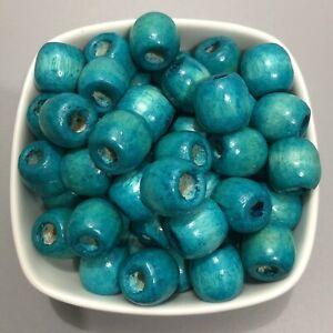 25X Turquoise Blue Wooden Drum Beads 16mm Macrame Craft Dreadlock Wood 6mm Hole