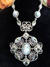 Huge Designer AF Sterling Silver Druzy Quartz Ornate Necklace