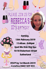 Personalised Spa Pamper Birthday ANY AGE ANY EVENT INVITATION 4X6