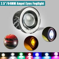 2pcs Angel Eyes Halo Car Fog Lights Lamp Projector DRL COB LED Bulbs Universal