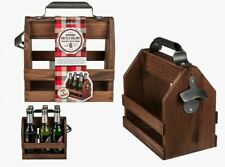 VINTAGE STYLE RUSTIC WOODEN BEER CRATE BOTTLE HOLDER WITH METAL BOTTLE OPENER
