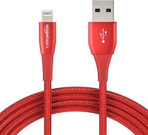 Apple Amazon Basics Nylon Braided Lightning USB iPhone Cable 1.8m 10 ft MFI Red
