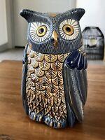 Rinconada De Rosa Collections 1005 Blue Gold Hand Carved Ceramic Owl