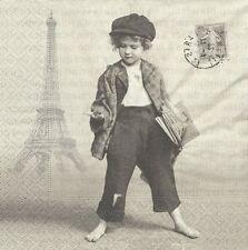 2 Serviettes papier Titi Parisien Paper Napkins Newspaper Boy Sagen Vintage