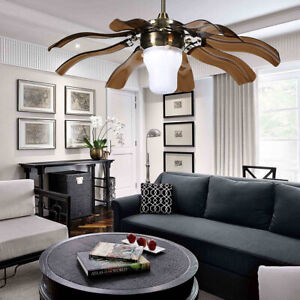 "42"" Ceiling Fan Light Modern Folding fan LED Chandelier Lamp With Remote Control"