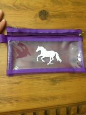 Purple Galloping Horse pencil case With Two zIpper Compartments