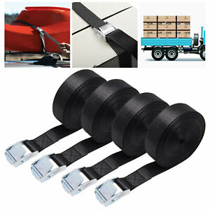 4 CAM BUCKLE TIE DOWN STRONG STRAPS ROOF RACK LUGGAGE CARGO 25MM X 3M LONG BLACK