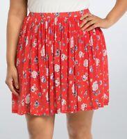 Torrid 1X 3X Skirt Red Floral Chiffon Pleated Skater Boho Swing Plus Size SlipOn