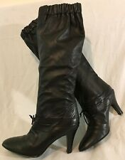 Bertie Black Knee High Leather Lovely Boots Size 39 (146vv)