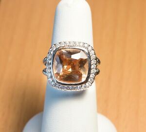 Sterling Silver, Champagne & Clear Colored CZ Ring - Size 6 - Not Scrap