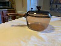 Corning Vision Ware Glass Sauce Pan Pot 1 Liter w/ Lid Amber (Pyrex)Cookware USA