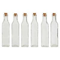 6x Tromso 250ml Square Glass Bottle Milk Juice Liquid Jar Cork Lid Stopper