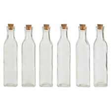 6x Tromso 250ml Square Glass Bottle Milk Juice Liquid Jar Cork Lid Stopper