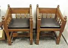 More details for vintage gothic hand made wooden church style chair pair