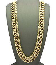 """Men Hip Hop Rapper Style Gold Hollow 30"""" Rope Chain Cuban 2pcs Necklace Set G124"""