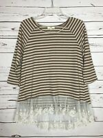 Kori America Boutique Women's S Small Ivory Lace Striped Cute Fall Tunic Top