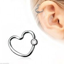 "Captive Lip Ear Eyebrow Ring 16 Gauge 3/8"" Heart w/Clear 3mm Gem Steel Body Jewe"