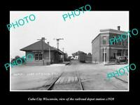 OLD POSTCARD SIZE PHOTO OF CUBA CITY WISCONSIN THE RAILROAD DEPOT STATION c1920