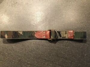 POLO RALPH LAUREN  Wide Canvas Leather Camo O-ring Belt Small NWT