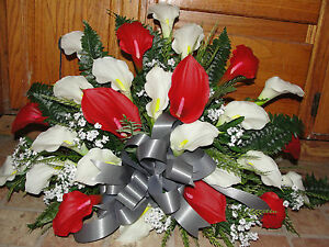 Christmas Red White Altar Distinctive Gala Calla Lily Dining Table Centerpiece